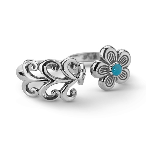 Sterling Silver Turquoise Double Flower Ring