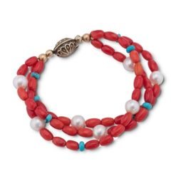 Brass Coral Turquoise Pearl Beaded Bracelet