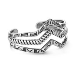 Sterling Silver Three Row Textured Chevron Cuff