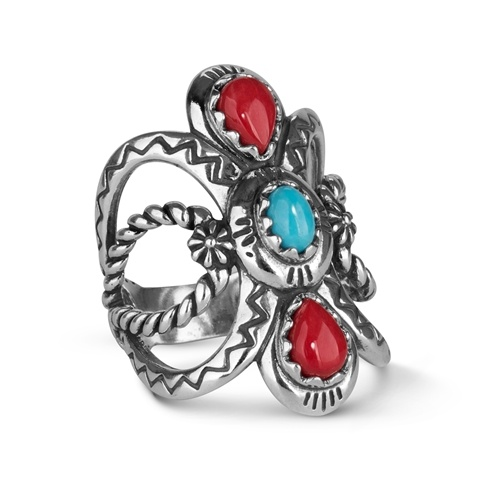 Sterling Silver Turquoise Coral Bold Ring
