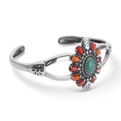 Sterling Silver Turquoise Spiny Oyster Bracelet