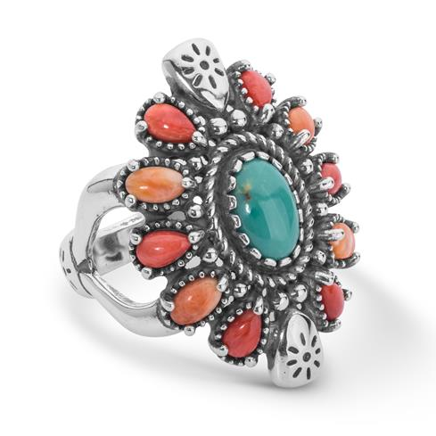 Sterling Silver Turquoise, Spiny Cluster Ring