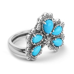 Sterling Silver Turquoise Naja Style Ring