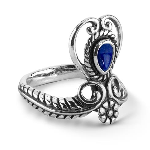 Sterling Silver Blue Lapis Gemstone Heart Ring