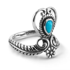 Sterling Silver Blue Turquoise Heart Ring