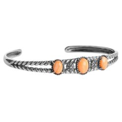 Sterling Silver Orange Spiny Oyster Cuff Bracelet