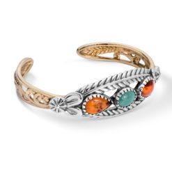 Sterling Silver, Amber Turquoise Cuff Bracelet