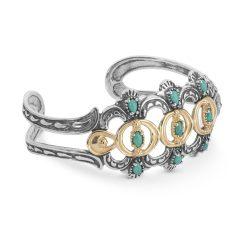 Sterling Silver Brass Turquoise Cuff Bracelet