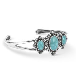 Sterling Silver Green Turquoise Cuff Bracelet