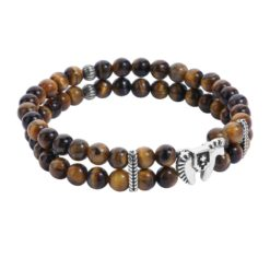 Sterling Silver Tiger Eye Horse Stretch Bracelet