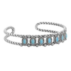Sterling Silver Turquoise Double Rope Cuff