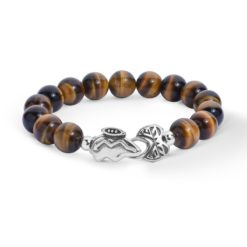 Sterling Silver Tiger Eye Beaded Bear Bracelet