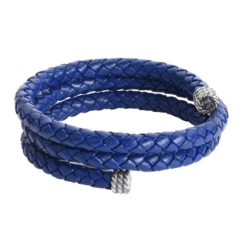 Sterling Silver Blue Cobalt Leather Wrap Bracelet