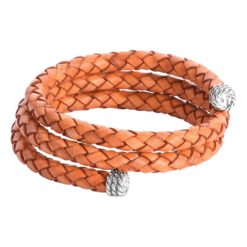 Sterling Silver Orange Leather Wrap Bracelet