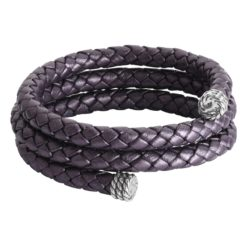 Sterling Silver Purple Leather Wrap Bracelet