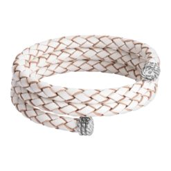 Sterling Silver White Leather Wrap Bracelet