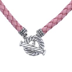 Pink Braided Leather Necklace