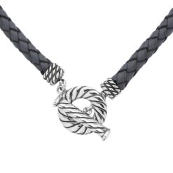 Sterling Silver Grey Braided Leather Necklace 17""