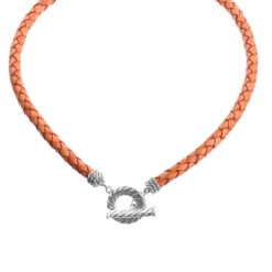 Sterling Silver Orange Leather Toggle Necklace