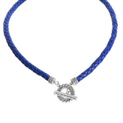 Sterling Silver Cobalt Leather Toggle Necklace