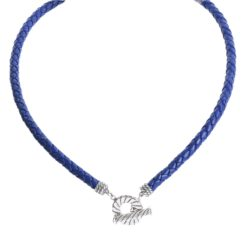 Sterling Silver Cobalt Braided Leather Necklace