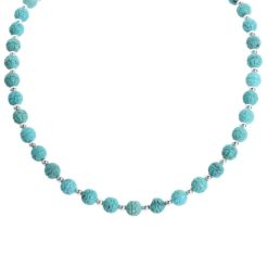 Sterling Silver Turquoise Carved Bead Necklace