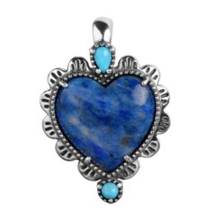 Sterling Silver Lapis Turquoise Heart Pendant
