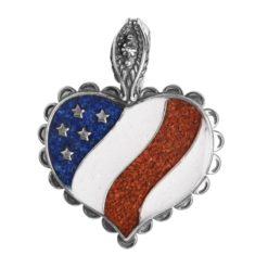 Sterling Silver Gemstone Patriotic Heart Pendant