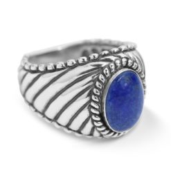 Sterling Silver Blue Lapis Gemstone Rope Ring