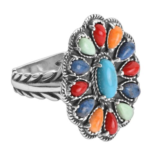 Sterling Silver Multi Gemstone Cluster Ring
