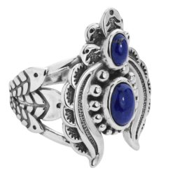 Sterling Silver Blue Lapis Gemstones Naja Ring