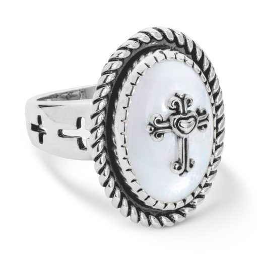 Sterling Silver Mother Pearl Cross Ring