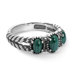 Sterling Silver Green Malachite Gemstones Ring
