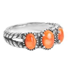Sterling Silver Spiny Oyster Gemstones Ring