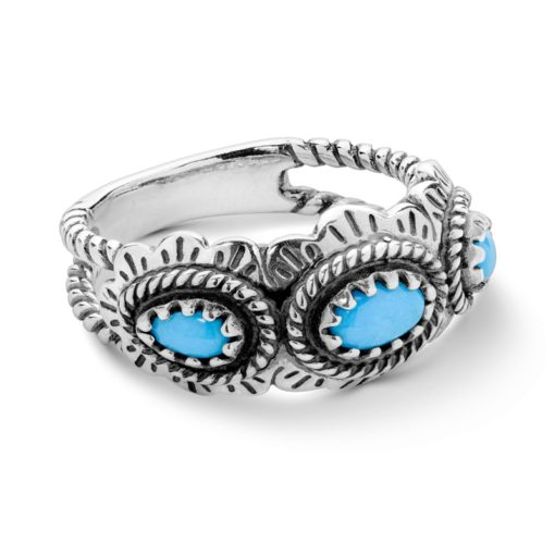 Sterling Silver Turquoise Gemstone Concha Ring