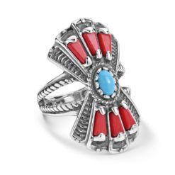 Sterling Silver Coral Turquoise Fan Ring