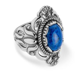 Sterling Silver Denim Lapis Gemstone Ring