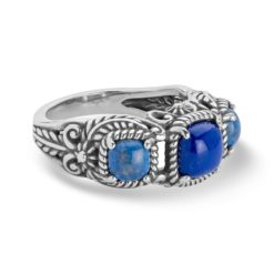 Sterling Silver Shades of Lapis Leaf Ring