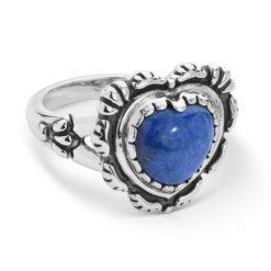 Sterling Silver Denim Lapis Concha Heart Ring