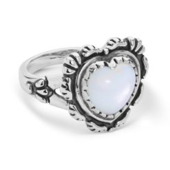 Sterling Silver White Mother-of-Pearl Heart Ring