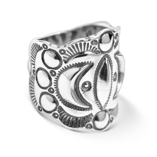 Sterling Silver Wide Band Designer Moon Ring
