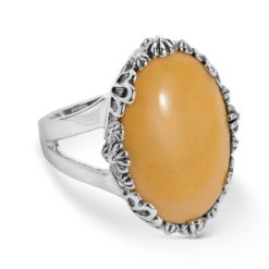 Sterling Silver Oval Yellow Jasper Gemstone Ring