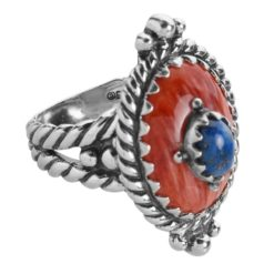 Sterling Silver Spiny Lapis Gemstone Ring
