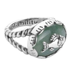 Sterling Silver Aventurine Gemstone Fish Ring