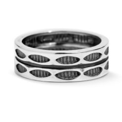 Sterling Silver Bared Marquis Double Band Ring