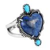 Sterling Silver Lapis Turquoise Heart Ring