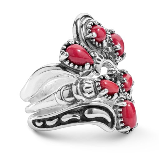 Sterling Silver Red Coral Stack Ring Set